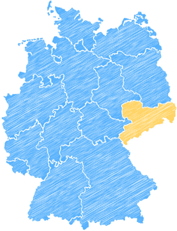 Deutschlandkarte mit hervorgehobenem Sachsen